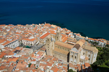 Panorama of Cefalu with cathedral