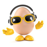 Egg listens on his headphones