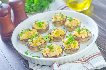mushrooms with meat and cheese
