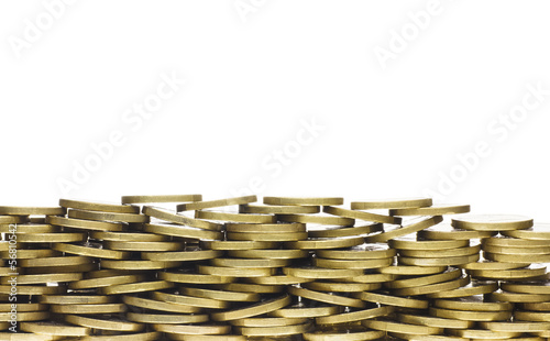 Heap of Gold Coins Forming Bottom Frame Border