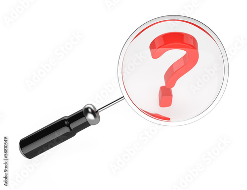 magnifying glass and question mark