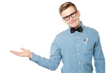 Smart looking guy presenting something