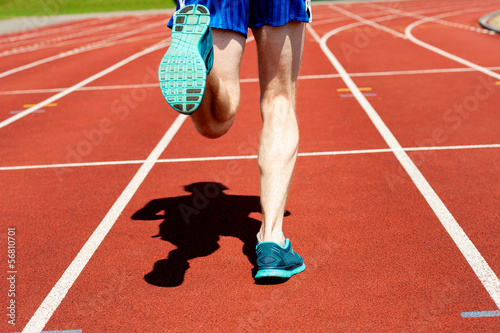 Runner practicing on a race track
