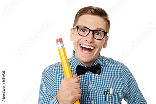 Nerd university student laughing