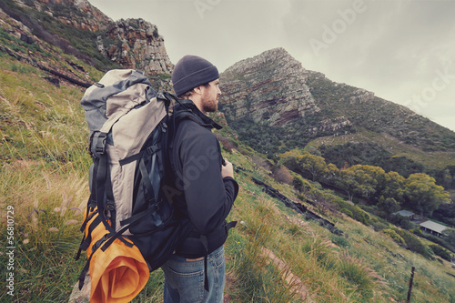 mountain trekking man