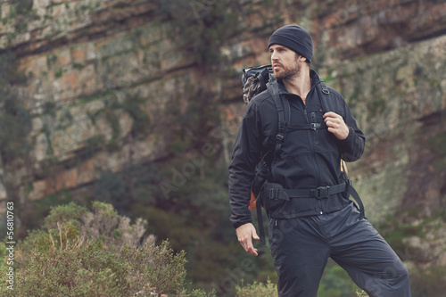 mountain trekking man - 56810763