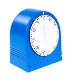 Blue kitchen timer on a white background