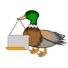 A duck holding a big blank paper in his beak