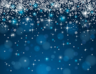 blue background with snowflakes, vector