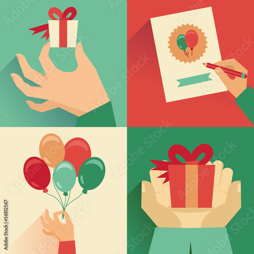 Vector set of greeting card in flat  style