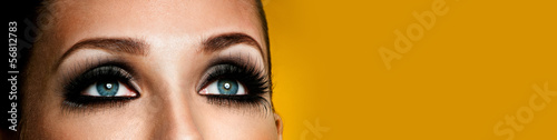 female eye with elegant eyelashes. professional makeup.