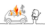 man watching a burning car