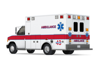 Ambulance Car Isolated on White. Back Perspective View