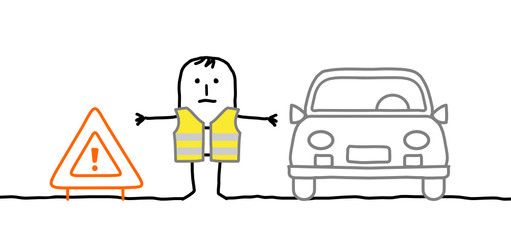 man with safety kit stopped on the road