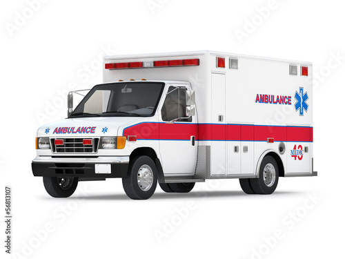 Ambulance Car Isolated on White Background. Perspective View