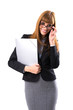 Portrait of smiling business woman with grey paper folder