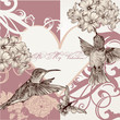 Wedding invitation card with hummingbirds