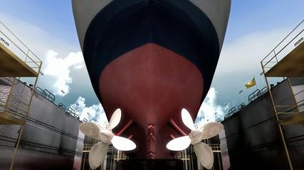 A ship inside drydock.