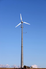 Small wind turbine generating electricity for the household