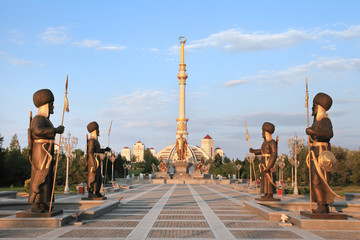 Monumen Arch of Independence in sunset. Ashkhabad. Turkmenistan.