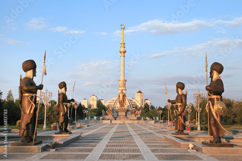 canvas print picture Monumen Arch of Independence in sunset. Ashkhabad. Turkmenistan.