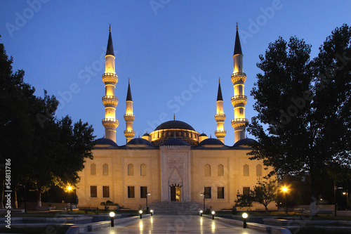 Ashkhabad mosque with minarets at night. Ashkhabad. Turkmenistan