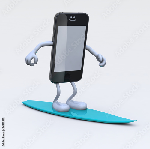 smartphone with arms and legs on surfboard