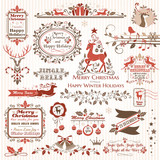 Set of christmas decorative elements (color)