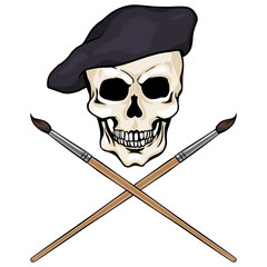 vector character - skull artist and crossed brushes