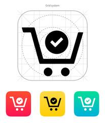 Shopping cart check icon.
