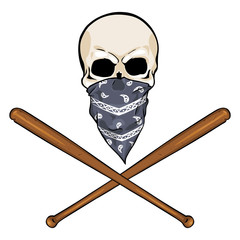 vector  character - skull vandal  and crossed baseball bats
