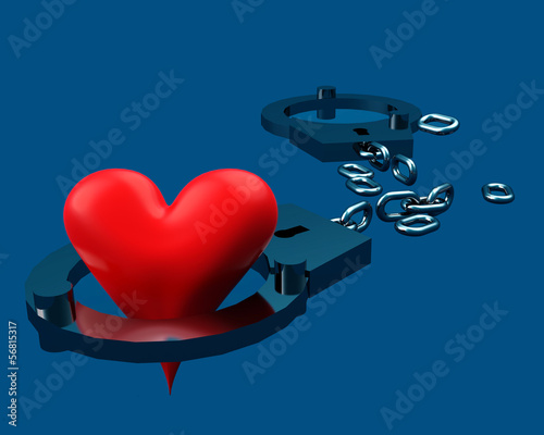 Handcuffs and heart symbol composition.