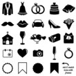 Vector Collection of Wedding Icons and Silhouettes with Frames