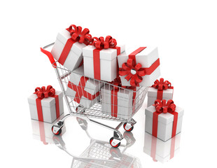 3d shopping cart with gift boxes