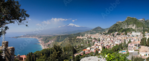 Panorama of Taormina with the Etna Volcano