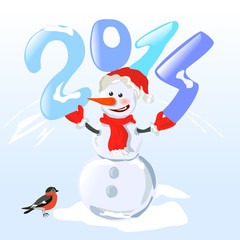 snowman holding a digit year