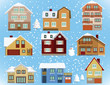 Snow covered city houses