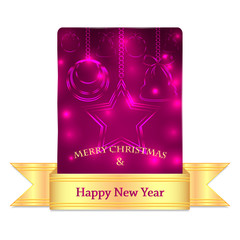 Christmas greeting card with gold ribbon isolated on white backg