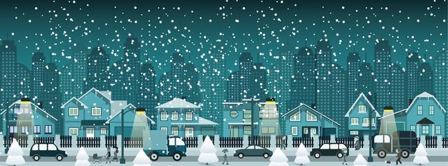 Night city in winter