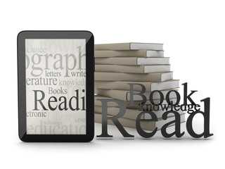 Modern tablet and books