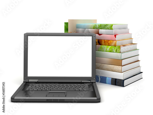 Books and laptop on white background