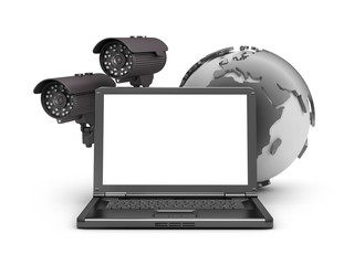 Security cameras, laptop and earth globe