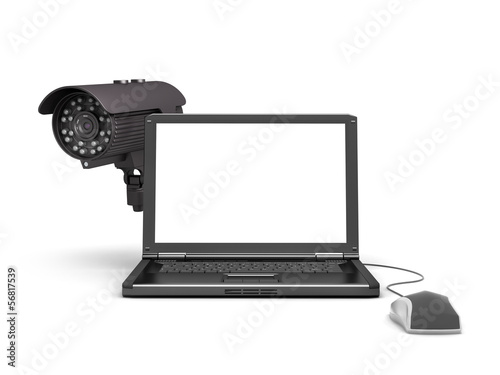 Laptop, security camera and computer mouse