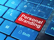 Advertising concept: Personal Branding on computer keyboard back