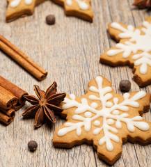 Snowflake shaped Gingerbread cookies
