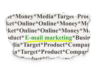 Advertising concept: E-mail Marketing on Paper background