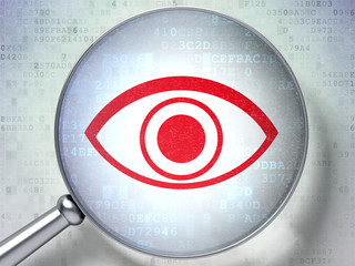 Protection concept:  Eye with optical glass on digital backgroun
