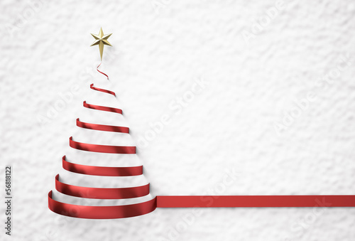 Christmas tree shape on snow background