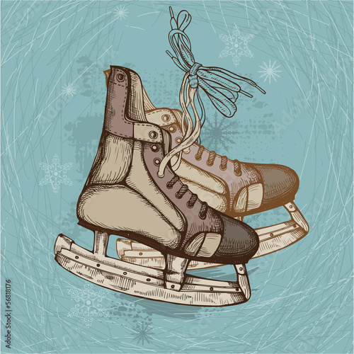 Hand Drawn Illustration of Old Retro Skates on winter background