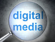 Marketing concept: Digital Media with optical glass